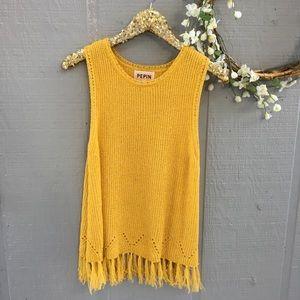 Anthropologie PEPIN yellow fringe sleeveless top.